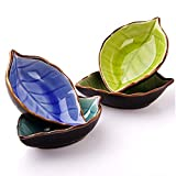 Leaves Shaped Ceramic Sauce Dish Dinnerware Set Tea Bag Holders Ketchup Saucer Appetizer Plates Vinegar Spice Salad Soy Sushi Wasabi Seasoning Dipping Bowls(Set of 4, Multicolor)