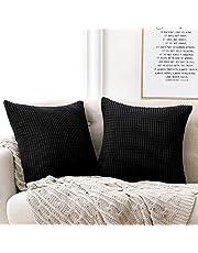 Deconovo Ribstof Sierkussenhoes, 40x40 cm, Zwart, set van 2, Vierkante Kussenslopen voor Bank, Auto, Slaapkamer, Terras
