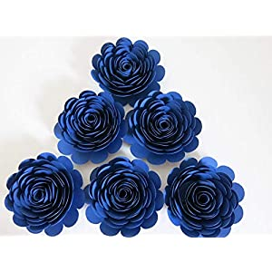 "Navy Blue Paper Roses, Big 3"" Blooms, Set of 6, Wedding Flowers, Bridal Shower Decor, Baby Nursery, Event Planning Floral Decorations, Always In Blossom 113"