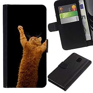 NEECELL GIFT forCITY // Billetera de cuero Caso Cubierta de protección Carcasa / Leather Wallet Case for Samsung Galaxy Note 3 III // Gato anaranjado