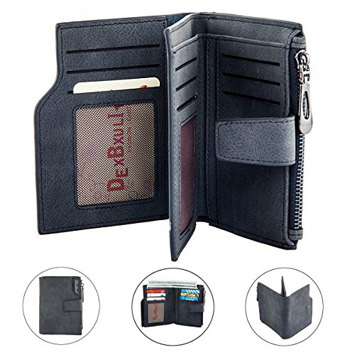 Women\'s Wallet Purse Large Capacity Leather Card Holder Zipper Coin Purse (Dark gray)