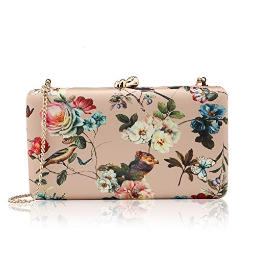 two the nines Women's Floral Print Satin Evening Bag Clutches Thin Chain Hardcase Purses Gold