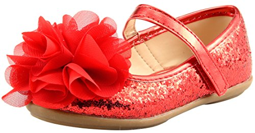 [The Doll Maker Glitter Flat - FBA173056D-10] (Toddler Red Glitter Shoes)