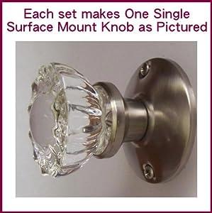 crystal antique brushed nickel pewter surface mount single dummyfrench door knob set
