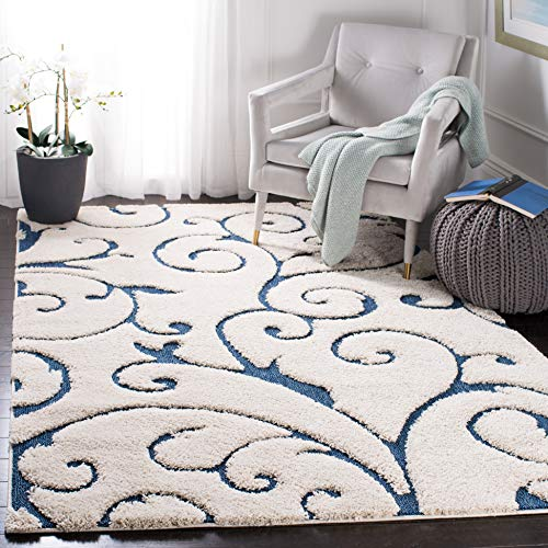 - Safavieh Florida Shag Collection SG455-1165 Scrolling Vine Cream and Blue Graceful Swirl Area Rug (5'3