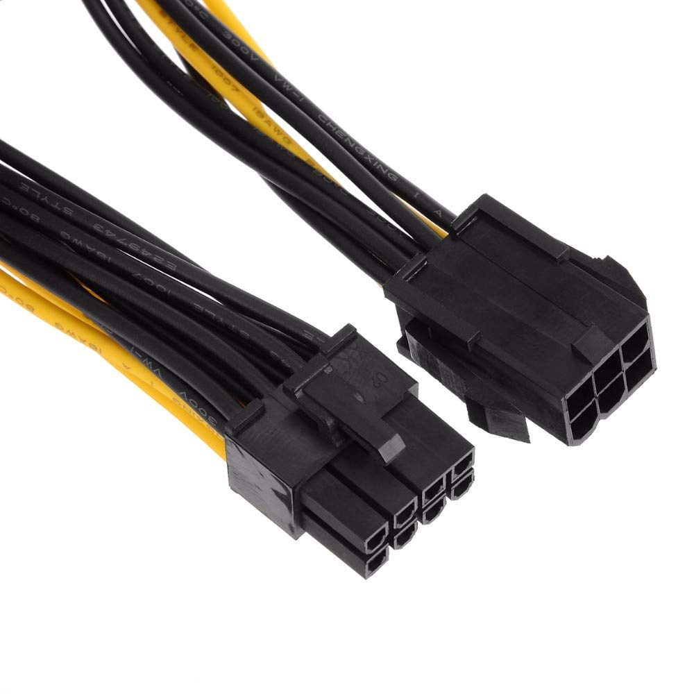 20cm Dual 6 Pin Female to Single 8 Pin Male PCIe Graphics Cards Power Cable for Dual Video Cards System
