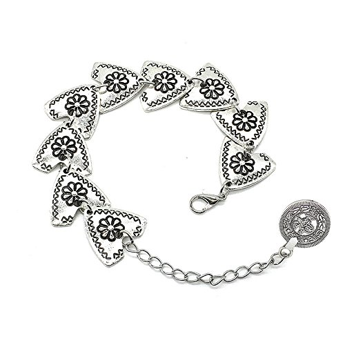 Bracelet Bohemian Antique Silver Carved Flower Triangle Coin Jewelry (Negative Space Watch compare prices)