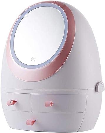 SBRTL LED HD Espejo De Maquillaje Caja Almacenamiento Portátil Organizador Cosmético Caso 360 ° Ajustable Multifunción Prueba Polvo Gran Regalo para Los Amigos Hija La Madre: Amazon.es: Hogar