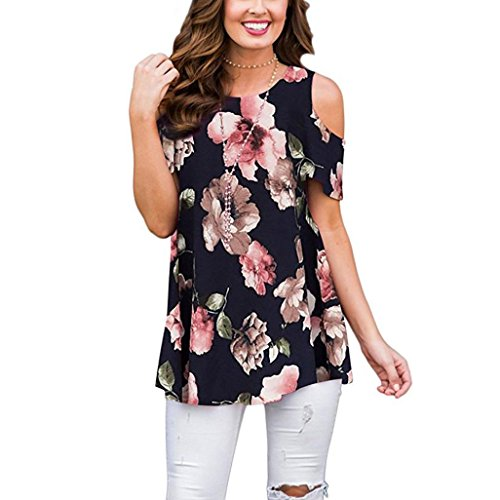 (Summer T-Shirt Women Blouse Ladies Tops Flowers Cold Shoulder Round Neck Tank Casual)