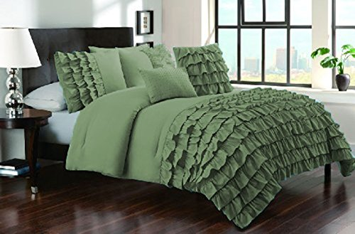 400 Thread Count 2 Piece Premium Waterfall Half Ruffle Duvet Cover Set with Extra Pillow Shams Twin XL 100% Egyptian Cotton Moss price