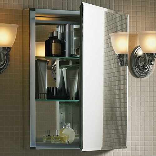 20'' x 26'' Aluminum Medicine Cabinet with Mirrored Door Rust-free Two Adjustable Tempered-glass Shelves Includes Side Mirror Kit for Surface Mount Installation Reversible Door by AVA Furniture