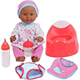 Drink and Wet Baby Doll, With Training Potty, 2 Bottles, Diaper, Bib, African American