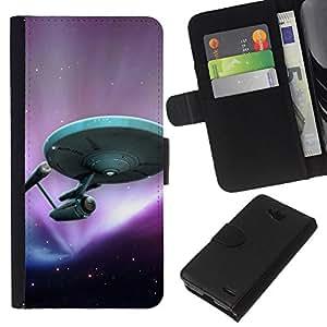 LECELL--Cuero de la tarjeta la carpeta del tirón Smartphone Slots Protección Holder For LG OPTIMUS L90 -- Star Trek de la nave --