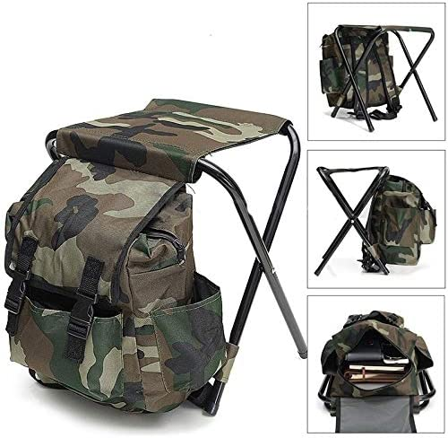 MaylFre Falten Sie Camping Fischen-Stuhl Hocker Rucksack mit K/ühler gef/ütterte Picknick-Beutel Wandern Camouflage Sitz Tabelle Bag