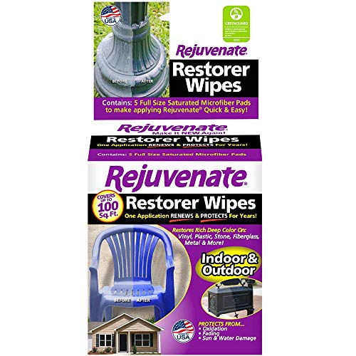 Rejuvenate Pre-Saturated Restorer Wipes Penetrating Formula Restores Shines and Protects Faded, Oxidized, Sun-Damaged Outdoor Surfaces - 5-Pack
