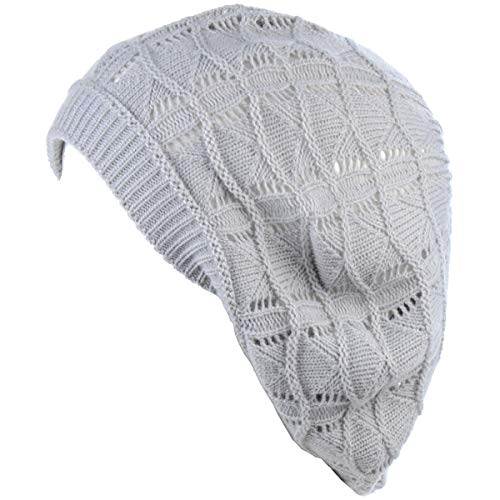 BYOS Chic Soft Knit Airy Cutout Lightweight Slouchy Crochet Beret Beanie Hat