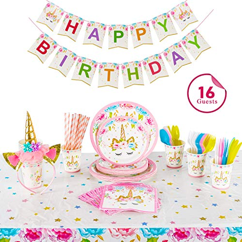 Clearance Sale ! Party Supplier Serves 16, Birthday Decoration Kits for Girls | Headband | Napkins | Plates | Cups | Straws | Table Cloth | Utensils | Happy Birthday Banner by Alyoen
