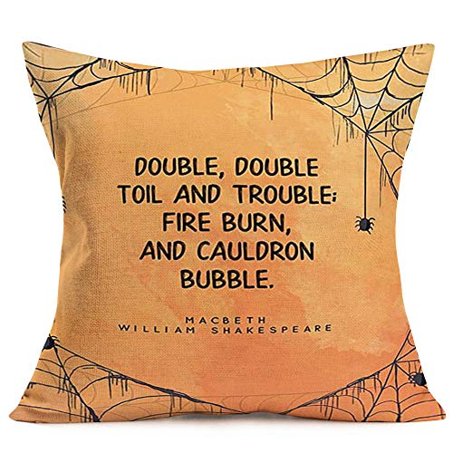 Asminifor Throw Pillow Covers Spider Web with Funny Halloween The Lyrics of Drama Quote Pillow Covers Cotton Linen Square Pillowcase Home Sofa Cushion Cover 18 x 18 Inches ()
