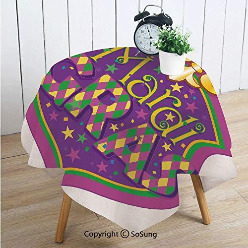 Mardi Gras Square Polyester Tablecloth,Blazon Design Festive Mardi Gras Inscription and Fleur de Lis Symbol Decorative,Dining Room Kitchen Square Table Cover,54W X 54L inches,Purple Yellow Green
