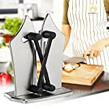 #10: Bavarian Edge Kitchen Knife Sharpener - Best Selling All in one Triple Knife Sharpening Stone. Sharpens, Polishes, Hones Standard, Serrated and Beveled Blades! Safe and Easy to Use.