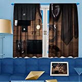 VROSELV Blackout Curtains Thickening Polyester,wood texture men s everyday objects on a background meet accessories Thermal Insulated Grommet for Living Room, 63'' W x 63'' L