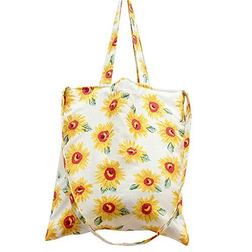 Caixia Women's Sunflower Canvas Convertible Tote Crossbody Bag (Beige/Zip) by caixia