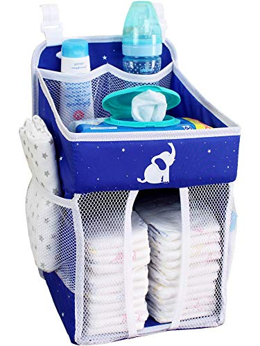 Baby Crib Diaper Caddy – Hanging Diaper Organizer – Storage for Baby Nursery – Hang on Crib, Changing Table, Playard or Furniture – Baby Shower Present for Newborn – Midnight Blue – 17x9x9
