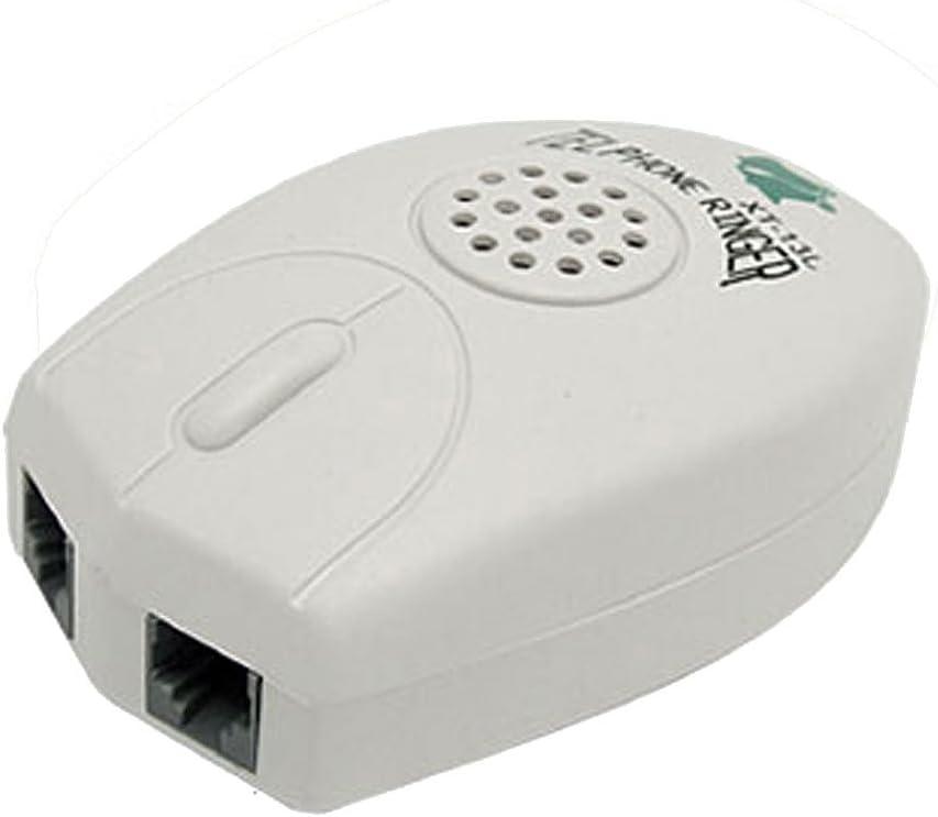 sourcing map Amplificador Bell Extra Fuerte Teléfono Ring Timbre RJ11 Ratón Forma Blanco