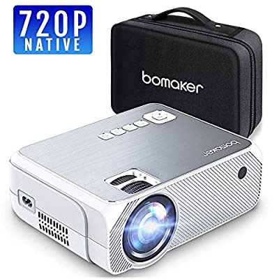 """Portable Projector LCD Full HD, BOMAKER Home Theater Mini Projector Native 720P Resolution 1080P Supported 250"""" Projection Size Support HDMI TV Box/Smart Phone/Laptop / PS4"""