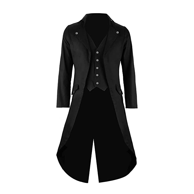 best website 627fd 4642d Cusfull Giacca Uomo Lunga Nero Gotico Steampunk VTG Cappotto Lungo  Multi-Tasca Tailcoat Cappotto per Costume Vittoriano Halloween Costume
