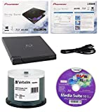 Pioneer 6x BDR-XD05B Ultra Lightweight External Blu-ray BDXL Burner, Cyberlink Software and USB Cable Bundle with 50pk CD-R Verbatim 700MB 52X DataLifePlus White Inkjet, Hub Printable
