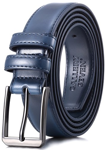 Gallery Seven Mens belt - Genuine Leather Dress Belt - Classic Casual Belt in gift box - Navy - Size 36 (Waist: 34)