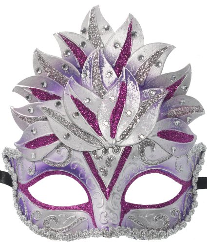 RedSkyTrader Womens Glitter Crown Mask One Size Fits Most Purple And Silver (Male Glitter Mardi Gras Mask)