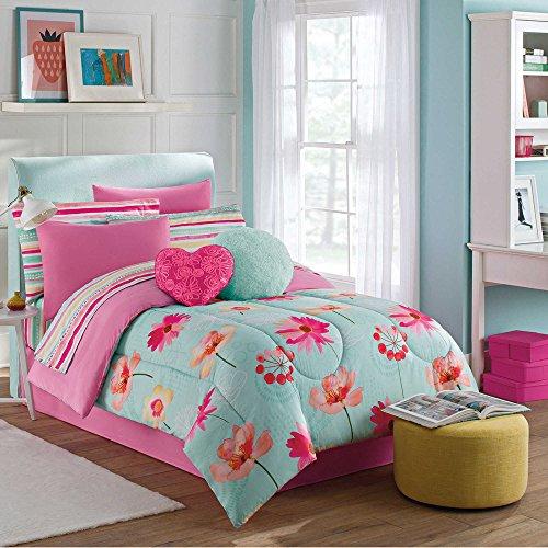 Madison Park Essentials Kids Brooke Aqua Pink Stripes Floral Flower Bedding Full Comforter for Girls (8 Piece in a - Ave Stores Park