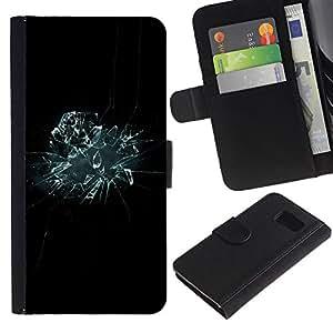 iKiki Tech / Cartera Funda Carcasa - Glass Shattered Mirror Black Blue Wallpaper - Samsung Galaxy S6 SM-G920