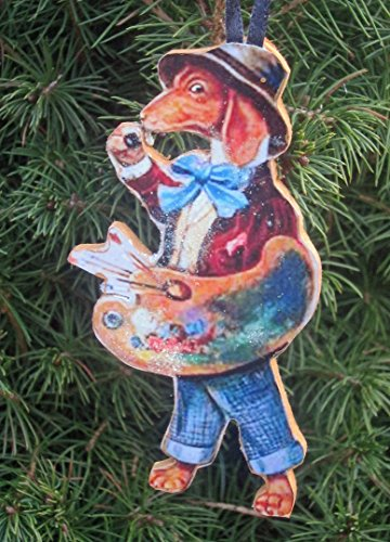 Dachshund Ornament, Handcrafted Wood, Christmas Ornament, Antique Postcard, Artist Palette, Dog Ornament, Dressed Animals, Floppy Felt Hat