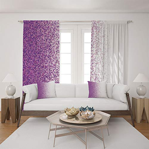 (2 Panel Set Satin Window Drapes Living Room Curtains and 2 Pillowcases,Tile Mosaic Squared Complex Pixel Party Mix Art,The perfect combination of curtains and pillows makes your living room)