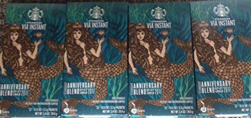 Starbucks 2017 Anniversary Blend Instant Via Coffee Packets Bundle - 48 (Anniversary Bundle)
