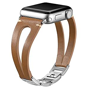 Karei Leather Bands Compatible with Apple Watch Band 38mm 40mm 42mm 44mm, Handmade Vintage Leather Bracelet with Adjustable Stainless Steel Clasp for iWatch Series 4 3 2 1, Sport, Edition