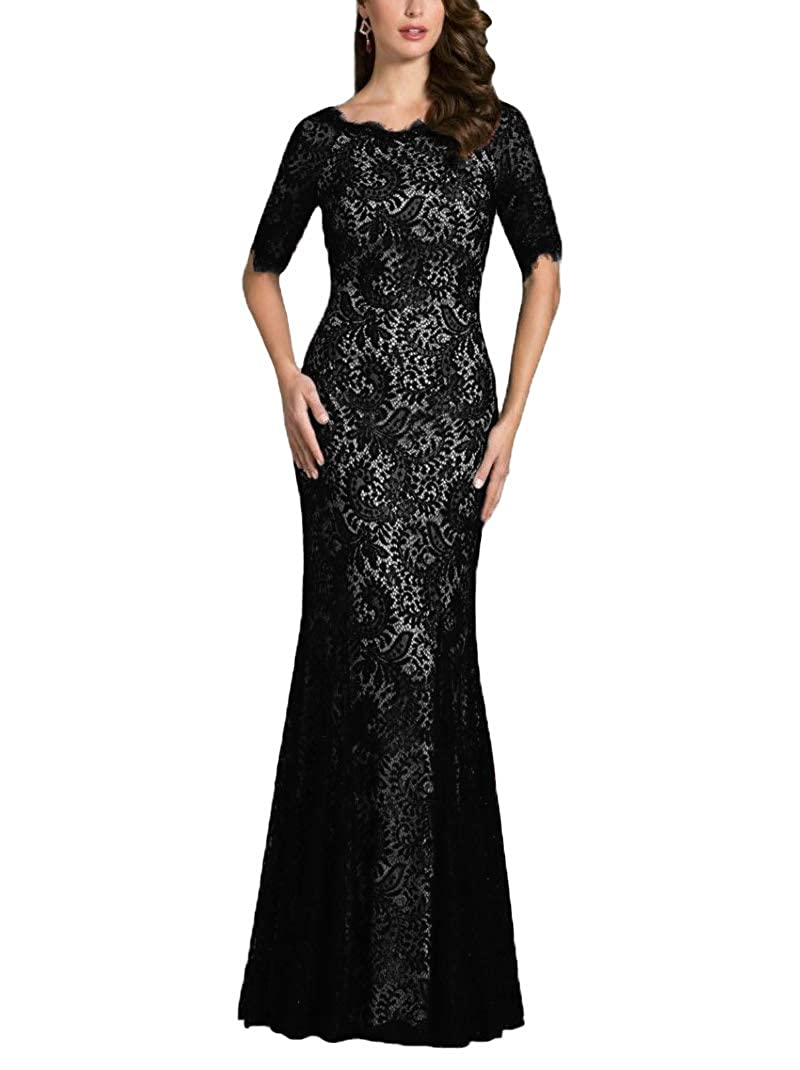 Black JINGDRESS Lace Mother of The Bride Dresses Half Sleeve Mermaid Maxi Wedding Party Dresses Evening Formal Gowns
