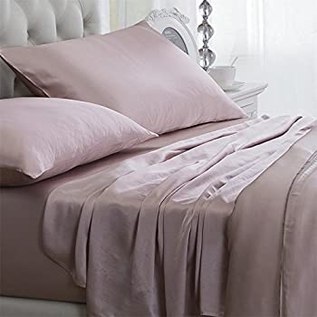 Orose 4Pcs 100% Charmeuse Mulberry Silk Bed Sheet Set Seamless Deep Pocket (King, Pink)