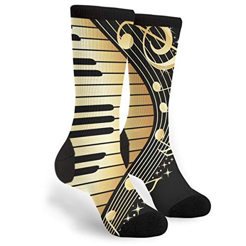 Music Note Piano Casual Cool 3D Printed Crazy Funny Colorful Fancy Novelty Graphic Crew Tube Socks -