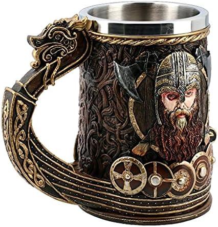 Tazas Vaso De Cerveza Medieval Vintage Copa De Vino Vikinga Guerrero con Cuernos con Casco De Batalla Jarra De Cerveza con Revestimiento De Acero Inoxidable 20 Oz (Capacity : 600ml, Color : Brown)