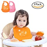 Waterproof Silicone Baby Bibs U-LOVE Adjustable Soft Feeding Bibs,Easy Clean Bibs Keep Stains Off for Infants & Toddlers (2 PACK, A001)