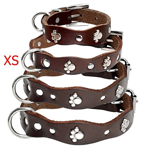 1 Set Soft Brown Leather Adjustable Dog Collar Dogs Puppy Pet Chihuahua Pitbull Elastic Bow Bell Tag Sublime Popular Small Wide Reflective Safety Breakaway Training Camo Kitten Collars, Type-01 - 11' Brown Boot