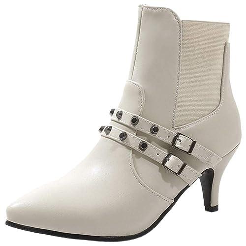 Kaizi Karzi Mujer Moda Tacon De Aguja Botines Sin Cordones: Amazon.es: Zapatos y complementos