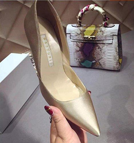 Xue Qiqi Zapatos de la Corte Zapatos de Tacón Alto con Zapatos de Tacón Alto con Zapatos de Tacón Medio de Tacón Alto. Zapatos Negros de Boca Baja para Mujer, 35, Champán 9CM. 35|Champagne c