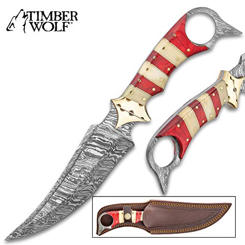 Timber Wolf Crimson Aggressor Fixed Blade Knife with Sheath - Damascus Steel Blade, Buffalo Horn Handle - Length 12