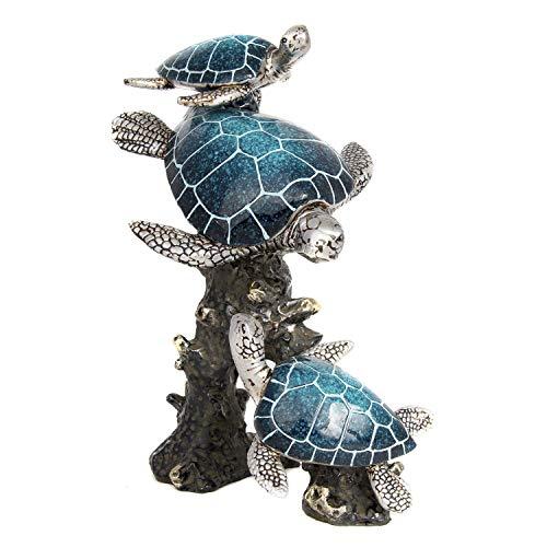 - Nauti Blue Sea Turtles Swimming Through Coral Figurine 9.5 Inches Tall WW-408