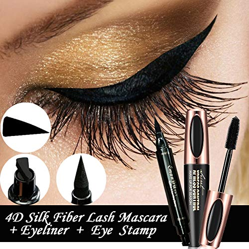 4D Fiber Eye Lash Mascara Cream Extension - Best for Thickening & Lengthening, Silicone Brush Head, Long Lasting Waterproof, Natural & Non-Toxic Hypoallergenic Ingredients (Black),With Eyeliner Stamp